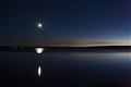 Moon over Yellowstone Lake