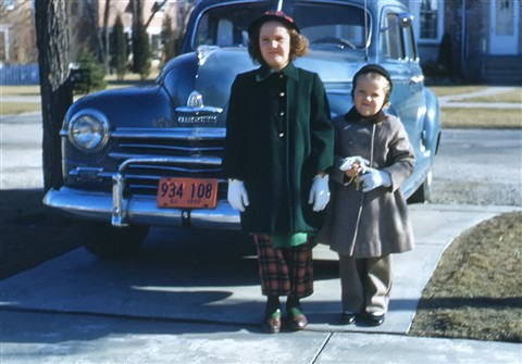 Carol and Holly with Plymouth, 1950