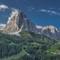 Early morning view of Sassolungo & Sassopiatto mountains from St. Christina, Dolomites, Italy