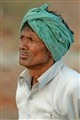 Street person in green turban, Bharatpur