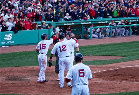 Daniel Nava greeted after hitting winning home run