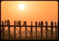 the longest wooden bridge in the world in Mandalay, Myanmar