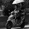 scooter ladies with parasol
