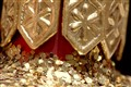 Tiny mirrors of Christmas ball glitter