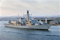 HMS Montrose leaving Montrose, Scotland