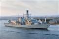 HMS Montrose leaving Montrose, Scotland