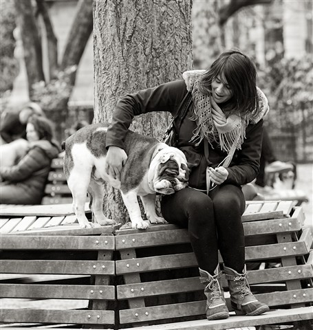 woman and her bulldog