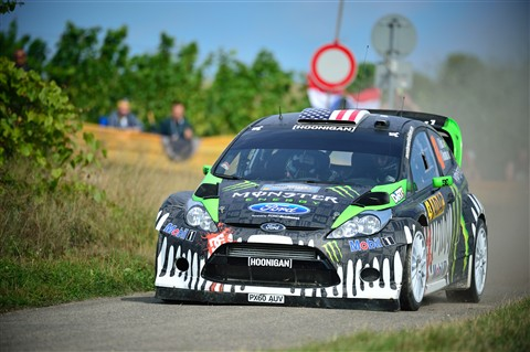 Ken Block drives his Ford Fiesta WRC rally car through the ADAC Rally Deutschland 2011 shakedown stage.