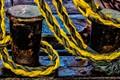 Yellow rope and bollard