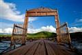 Wooden gate on bridge