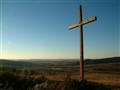 Cross on a wintery landscape in the Eastern Free State, South Africa