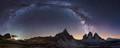 Milky way over Tre Cime di Lavaredo, Dolomites, Italy.