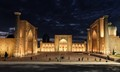 the Registan square in Samarkand, Uzbekistan by night.