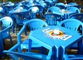 Blue tables and chairs
