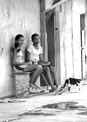 two girls by the wall