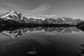 Alpin mountains (mont Blanc to the right) reflecting in Cheserys lake
