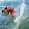 Red Suit Surfer on Wave