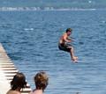 Jumping into Lake Michigan