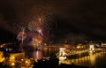 Fireworks over Budapest turning night to day