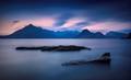 Blue hour very long exposure image of the Cuillin in Skye