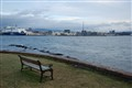 Bench looking at Oslo Harbour