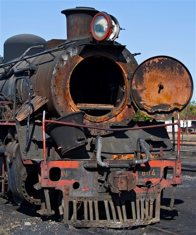 Rusting Class 24 locomotive in Botswana