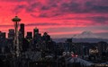 Cityscape - The iconic Space Needle and Mt. Rainier at Sunrise from Kerry Park, shot on November 18, 2016. My favorite landscape photo of 2016. Enjoy!