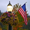 american flag and lamp coure d'alene usa