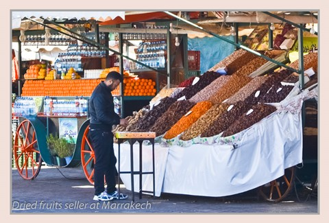 Dried fruits seller at Marrakech