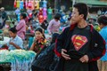 Superman visits Rangoon flower market