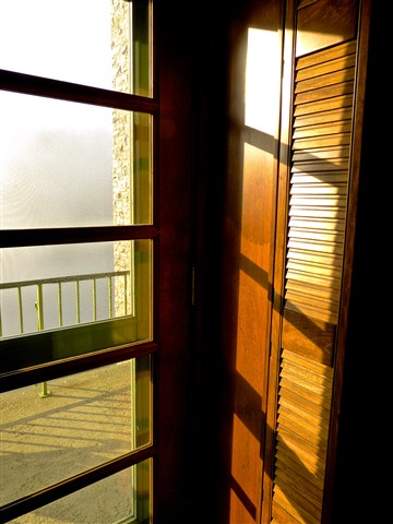 Louvered Door and Fog