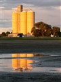 Hillston silos at sunset