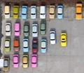Looking down at the Trabant Tours cars in Berlin, from the Die Welt balloon.