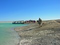 Travellers return  after exploring a tiny island