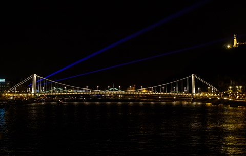 Laser Lights over Elisabeth Bridge, Budapest, Hungary