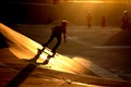 skateboarding golden light