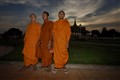Monks pose before the Royal Palace, Phnom Penh
