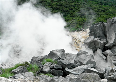 Steamy rocks at Hakone