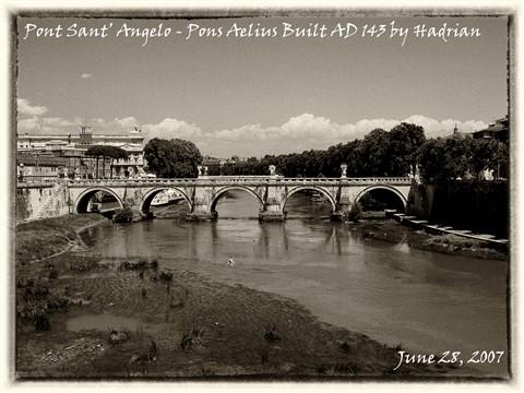 Ponte Sant' Angelo - Pons Aelius built AD 143 by Hadrian-SE Sepia SM