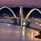 JK Bridge: JK Bridge connecting the Plano Piloto to Lago Sul in Brasília, Brazil. Photo taken in the late afternoon at 18:09.