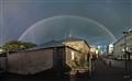 Rainbow above city jail