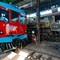 Diesel railcar and steam loco in Sabanah shed DSC09713 Bogotá Turistren