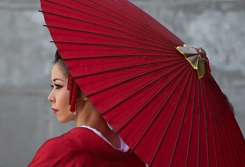 Japanese Model With Red Umbrella