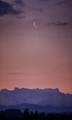 Crescent Moon, Distant Peaks