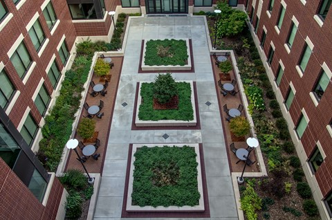 Courtyard of Sage Hall, a LEED-Gold certified campus building