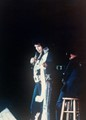 July 24, 1976. Elvis at a concert in Charleston, West Virginia handing a female one of his scarves. No recording could capture Elvis's voice I found out at this concert. He sang How Great Thou Are and blew the doors off their hinges. Even in his last days, he had a voice like no other. He would be dead around one year later