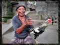 HAPPY BALI GUY WITH ROOSTER