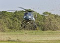 Grass cuttings all around as helicopter lands