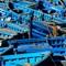 Blue boats at Essaouiara
