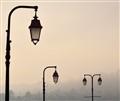Street lamps in fog Honfleur